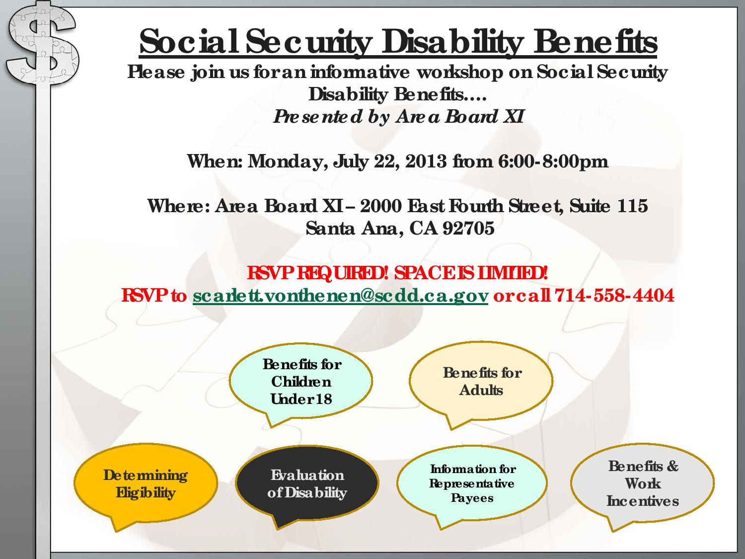 Free workshop social security disability benefits july 22 2013